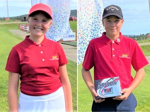 Nora EmilieWiik-Hansen (14) og Mikkel Bergum Johansen(13) er to av Drøbak Golfklubbs største golftalenter.