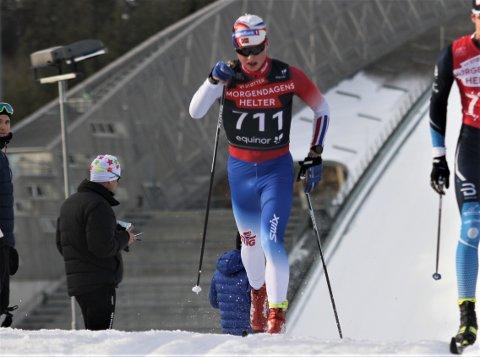 TOPP TRE: Vegard Aarstad gikk fortere enn noen gang da han på fredag kapret tredjeplassen i juniorenes norgescup i langrenn i Holmenkollen.