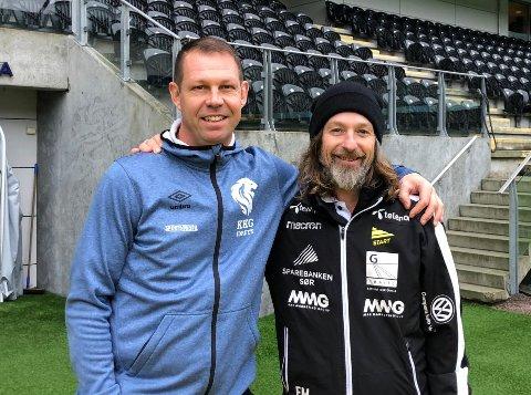 Randesund-trener Frode Fredriksen (t.v.) og Start-spillerutvikler Erik Mykland skal lede Sørlandslaget i en treningskamp mot Start.