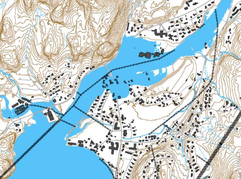 Flomutbredelsen for en 200 årsflom med klima, er vist på kartet. Hele kultursenterområdet og mye annen bebyggelse på Tonstad vil kunne stå under vann med en slik flom.