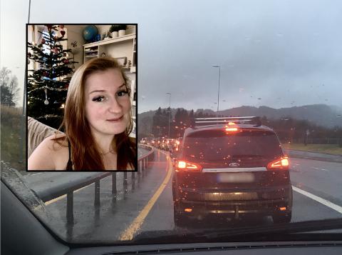 May-Britt vart ståande i kø på veg til Åsane, men snudde og køyrde heim.