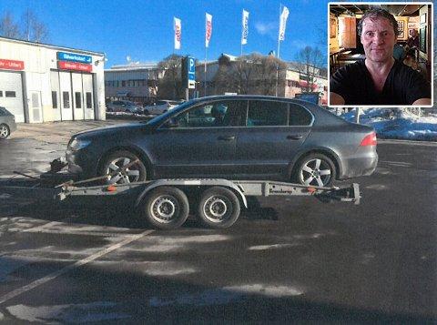 Olve Solli skulle bare frakte bilen sin til Sverige på denne tilhengeren. Den turen endte opp i retten, og må betale over 27.000 kroner til Pro Motor Nord.