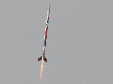 Andøya  20180927. Nucleus, den første raketten som helt og holdent er utviklet og produsert i Norge, ble vellykket sendt opp fra Andøya Space Center torsdag ettermiddag. Foto: Nammo / NTB scanpix