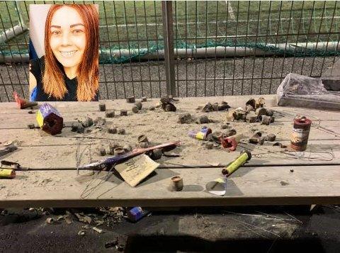 SØPPEL: Dette søppelet møtte Kristine Eriksen og ungene når de besøkte skateparken på Bankgata mandag.