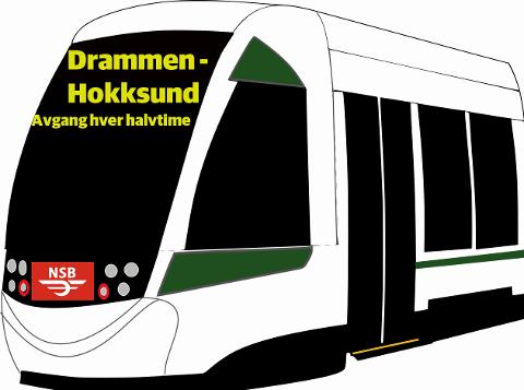 I fremtiden skal toget gå to ganger i timen på strekningen Drammen-Hokksund.