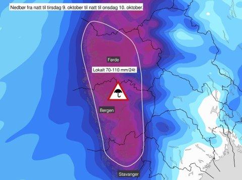 GULT FAREVARSEL: Meteorologisk istitutt sender ut gult farevarsel om mykje nedbør på Vestlandet.