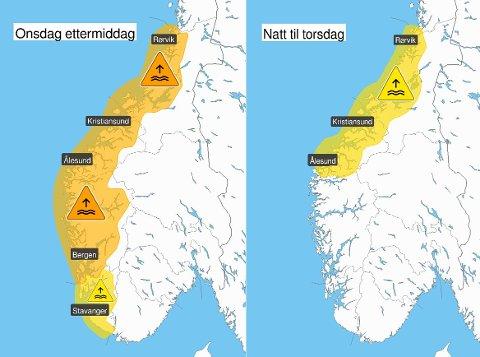 SLIK ER VARSELET: Varselet frå Meteorologisk institutt viser at faren er høgast onsdag ettermiddag denne veka.