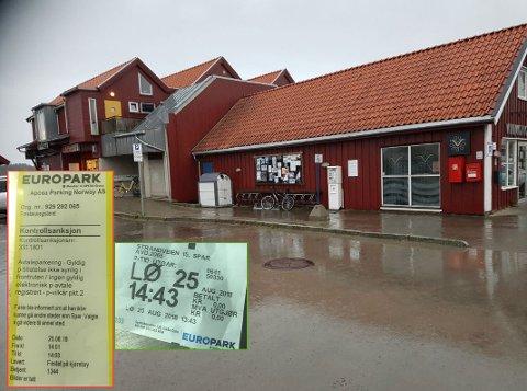 Utenfor Spar på Skjærhalden er det en time gratisparkering. Men parkeringsbetjenten mente Bernt Syversen ikke kunne handle på Vinmonopolet på hjørnet mens han sto parkert på plassen.