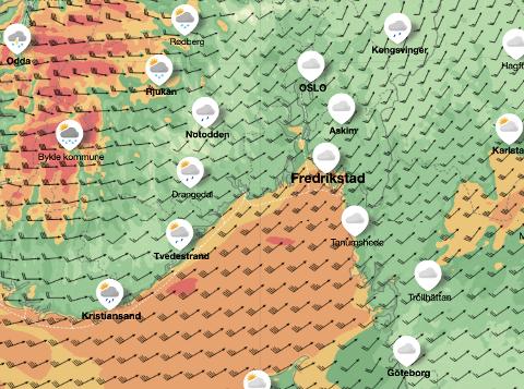 VINDKAST: De oransje og gule feltene viser til henholdsvis sterk og stiv kuling utenfor Fredrikstad, og man kan se at vindretningen går inn mot byen. Men det hele skal roe seg utover kvelden, forteller meteorolog Eldbjørg Moxnes ved Meteorologisk Institutt.