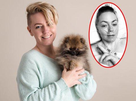 GLEDE: Karin med hunden Lykke, en pomeranian som hun kjøpte med penger fra en spleis organisert av en god kollega, etter at kreften var konstatert. Bildet ble tatt tre måneder etter operasjonen.