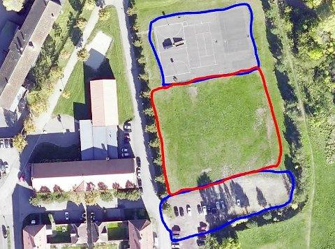 PARKERING: Horten kommune ber om tillatelse til å bruke gressområdet (i rødt) til parkering dersom det blir aktuelt å vaksinere 160 personer i timen.