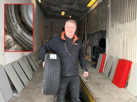 ALDRI OPPLEVD LIGNENDE: Daglig leder Kenneth Nordahl ble mildt sagt sjokkert da han fikk tilsendt bilder av hva den ene kollegaen hans hadde funnet mellom en hjulkapsel og et hjul.