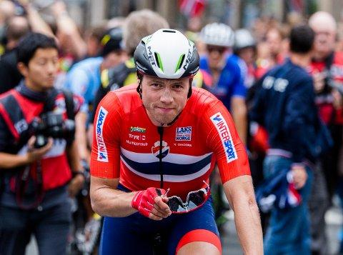 Edvald Boasson Hagen maktet ikke å følge med de sterkeste rytterne opp Laksebakken siste gang. Han var naturligvis skuffet etter målgang.