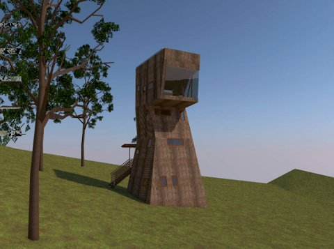 Ett av argumentene i søknaden er at trærne på eiendommen er enda høyere, slik at Stixrudtårnet bare blir synlig fra søkerens tomt.  Illustrasjon vedlagt søknaden til kommunen.