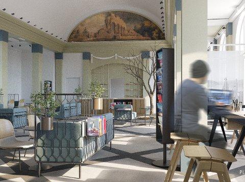 INTERØIØR: Arkitektfimaet ser for seg å blande rustikke møbler, med et klassisk uttrykk, inn i de ærverdige lokalene. Illustrasjon Plan 1 AS
