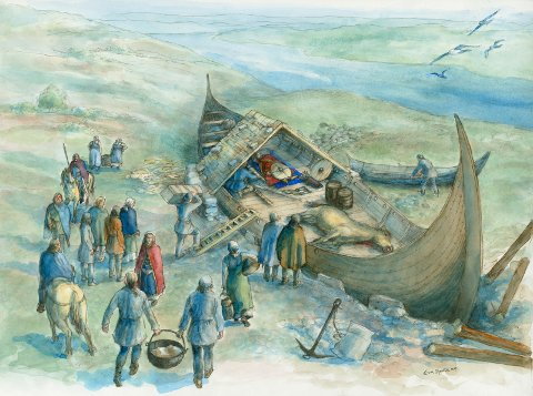 TIDLIG VIKINGTID: På verdensbasis er det funnet 14 skipsgraver fra vikingtiden. To av dem er på Karmøy. Denne illustrasjonen viser hvordan begravelsen på Storhaug kan ha gått for seg i 779. Grønhaug-graven ble til årene mellom 790-795.  Storhaugfunnet er dermed over 40 år eldre enn Osebergfunnet og bortimot 120 år eldre enn Gokstad.