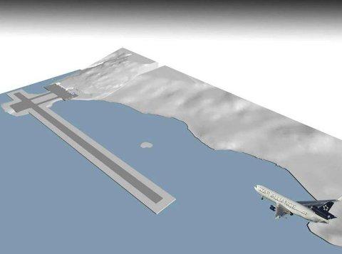 Flyplass på Grøtnes:  Er ett av to alternativer for ny flyplass i Hammerfest som Avinor utredet. Illustrasjon: DARK Arkitekter