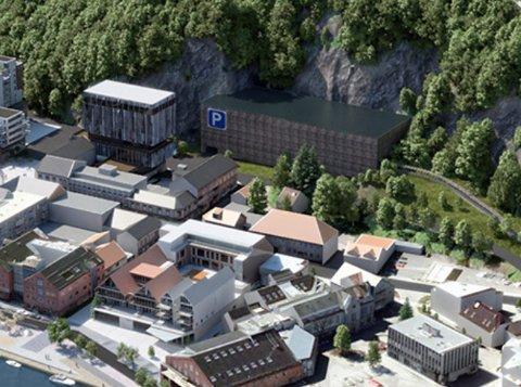 PARKERINGSHUS: Slik ser konsulentfirmaet Rambøll for seg et parkeringshus i Bakken, med kapasitet på 6-700 biler. NB: Flere av skissene for øvrig på bildet er utdatert.