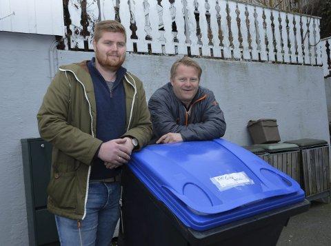 Mer sortering: Virksomhetsleder Andreas Tengelsen (t.v.) og Stefan Baugstø ønsker at også glass og metallembalasje skal bli sortert.