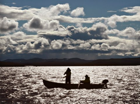 """Morgenstund: De første garna trekkes ved seks-tida. Norgesmester Ola Hov har hvert år med seg forskjellige """"slaver"""" til å hjelpe ham med fisket. Laagendaslpostens medarbeider fikk prøve seg i båten."""