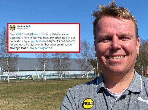 VOLDSOM RESPONS: Kommunikasjonsansvarlig Morten Stokstad i LSK traff en nerve med sin Twitter-melding om den europeiske superligaen i fotball.