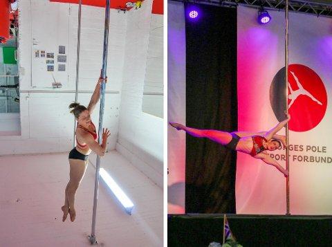 MÅLBEVISST: Elise trener og forbereder konkurranse i treningsstudio (t.v) og under NM til høyre.