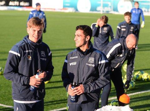 FORTSATT LAGKAMERATER? Snorre Strand Nilsen (t.v.) og Ryan Doghman var begge på treningen til eliteserielaget Kristiansund mandag.
