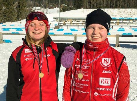 BLIDE LANDINGER: Anne Birgit Dokken og Jørgen Furusethtok steget opp på toppen av pallen i søndagens KM-renn.
