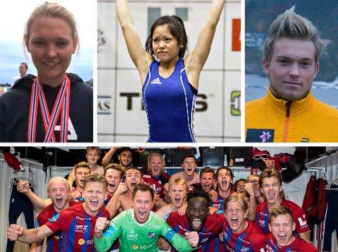 NOMINERTE: Tonje Pedersen, Rebekka Tao Jacobsen, Vebjørn Hegdal og IF Fram Larvik er blant de nominerte til idrettsgallaen i Vestfold.