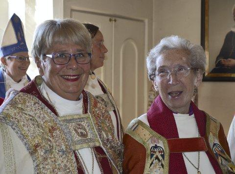 80 år: Rosemarie Köhn sammen med dagens biskop Solveig Fiske.Foto: Hamar bispedømme