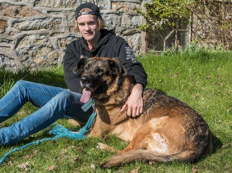 Ole Marius Sørby (19) har hatt hunden Baltus (8) siden den var valp. I mai ble hunden skutt og måtte opereres.