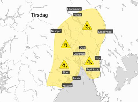 Gult farevarsel: Søndag gikk Meteorologene ut med varsel som dekker nesten hele Østlandet.