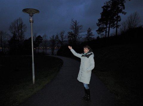 TURVEI UTEN LYS:  Her vil vi ha lys sier Ekaterina Persson.