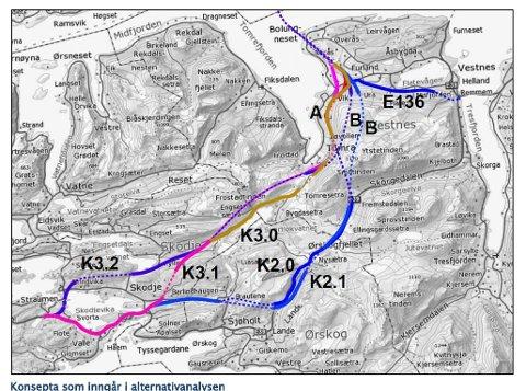 Fire alternativer for nye E39 mellom Molde og Ålesund.