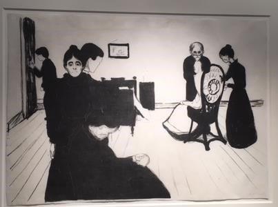 LOVER DUSØR: Oslo politidistrikt har i lengre tid etterforsket en sak der to litografier av Edvard Munch er forsvunnet. De to litografiene er «Syk pike» («Sick child») og «Døden i sykeværelset». Her er det «Døden i sykeværelset» som er avbildet.