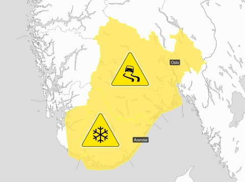 OBS! Det er sendt ut farevarsel for vanskelige kjøreforhold på grunn av snøfall i flere fylker.