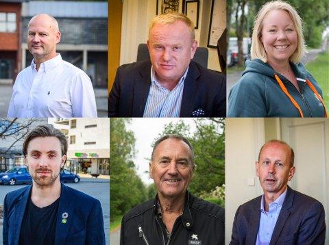 VARIERENDE INNTEKT: Blant de ledende politikerne i ås er det stor forskjell på inntekter og formuer. (f.v) Bengt Nøst-Klemmetsen (H), KJetil Barfelt (FrP), Maria-Therese Jensen (V), Martin Løken (MDG), Odd Vangen (Sp) og Ola Nordal (Ap).