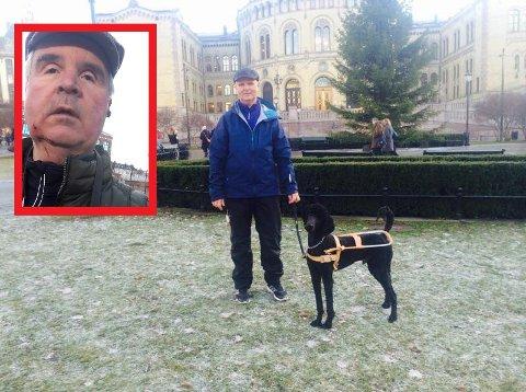 Lars Semmerud har hatt førerhunden Enzo siden 2016. Søndag morgen falt han stygt da de to var på tur sammen på Grünerløkka.