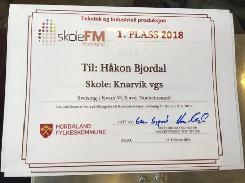Beviset: Her er beviset på at Håkon Bjordal er beste sveisar av samtlege elevar i Hordaland.