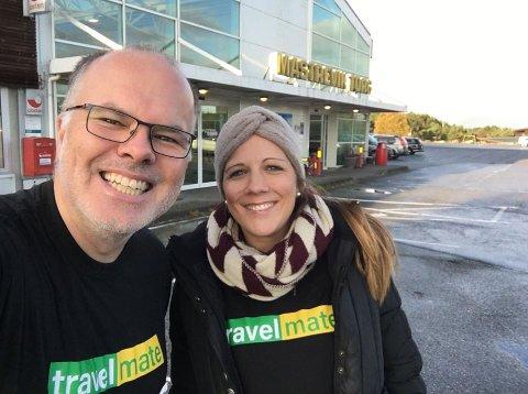 Øyvind Sæthre og Ruth-Linda Lerøy Kjenes er i dag dei to faste tilsette hos Travelmate.