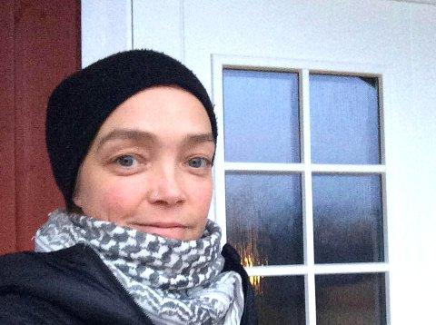 Marit Vindvik var ikke imponert over rulleskiløperen hun møtte på i Nygårdsjøen-området. Foto: Privat