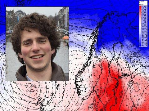 Vakthavende meteorolog ved Storm Geo, Isak Slettebø, melder om en lengre godværsperiode i Salten. Foto: Privat/Storm geo