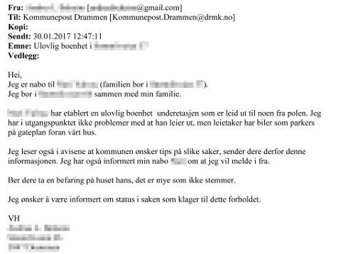 E-POSTEN: Denne e-posten til Drammen kommune er tilsynelatende signert kvinnen som kjøpte et hus av Yousuf Gilani. Politiet mener det er Gilani som har forfalsket den. E-posten er hentet fra kommunens byggesaksarkiv.