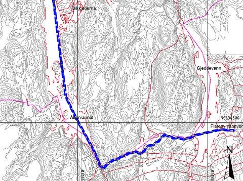 Skisse som viser hvor vannledningen vil gå og deretter fortsette i Nordbysjøen.
