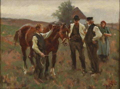 Ein hestehandel: Eit maleri av den danske kunstnaren Erik Henningsen.WIKIMEDIA Commons