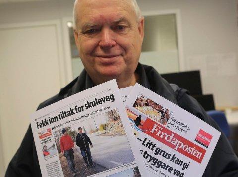 Asbjørn Lillenes har stått på krava for å få ein sikrare skuleveg ved Brandsøy skule i over ti år.
