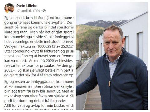 Kommunedirektør Ole John Østenstad (til høgre) seier Svein Lillebø skal få svar på brevet sitt, men at Lillebø får bu seg på at rekninga går til inkasso dersom han ikkje betalar.