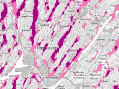 Dårlig fjell ved Rolvsøyveien: Kartet viser områder med fare for forvitret fjell, i mørk farge.  Her kan det være dårlig fjell langt ned i grunnen. (Illustrasjon: Norges Geologiske undersøkelse (NGU).