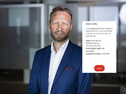 ADVARER: Pressesjef Kenneth Tjønndal Pettersen i Posten Norge AS liker dårlig at merkevaren deres blir brukt til svindel.
