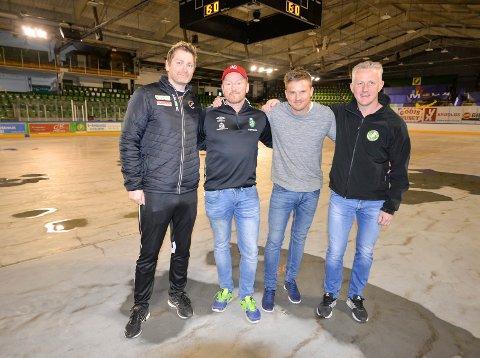 SHOWCUP: Jan Thomas Lauritzen (Halden Topphåndball), Tom-Eirik Haug-Fjellstad (arrangør), Kjetil Andreassen (TTIF) og Glenn Johansen (Comet) er klare for showcup i Halden ishall neste lørdag.